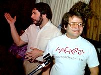 Steve Wozniak and Andy Hertzfeld at the Apple User Group Connection club in 1985