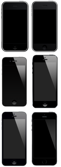 The first-generation iPhone, 3G, 4, 5, 5C and 5S to scale.