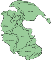 Pangaea was a supercontinent that existed from about 300 to 180 Ma. The outlines of the modern continents and other landmasses are indicated on this map.
