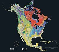 Geologic map of North America, color-coded by age. From most recent to oldest, age is indicated by yellow, green, blue, and red. The reds and pinks indicate rock from the Archean.