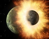 Artist's impression of the enormous collision that probably formed the Moon