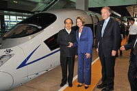 Rep. Markey (R) with Chinese Minister of Railways Liu Zhijun (L) and U.S. House Speaker Nancy Pelosi (C) in May 2009. Behind them is a Hexie Hao train on the Beijing–Tianjin Intercity Railway.