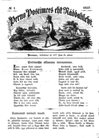 The front page of Perno Postimees, the first Estonian language newspaper