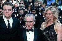 DiCaprio with Martin Scorsese and Cameron Diaz at a Gangs of New York event circa 2002