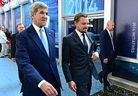 U.S. Secretary of State John Kerry and DiCaprio at the Our Ocean Conference at the U.S. Department of State in 2016