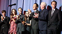 DiCaprio (first from the right) with the cast of Inception at the premiere in July 2010