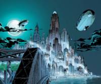 Airships are commonly depicted flying over Gotham City. Art by Jim Lee.
