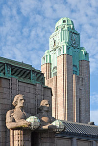 Art deco and art nouveau buildings, such as the Helsinki Central Railway Station, inspired the look of Gotham in the 1989 film Batman.