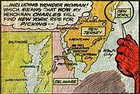 A map showing Gotham City to be located in the U.S. state of New Jersey from Amazing World of DC Comics #14 (March 1977). Art by Dick Dillin.