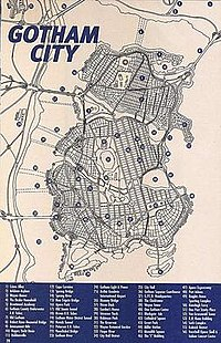 Gotham City map (1999). Cartography of Gotham City by Eliot R. Brown.