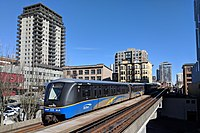 An Expo Line train approaching New Westminster station.