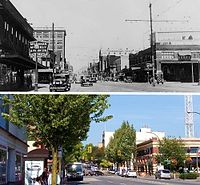 Contrasting views of Columbia Street in 1932 and 2008.