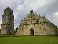 The historical Paoay Church in Ilocos Norte. Declared as a National Cultural Treasure by the Philippine government in 1973 and a UNESCO World Heritage Site under the collective group of Baroque Churches of the Philippines in 1993.
