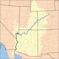The Colorado River watershed; the LCRV arbitrarily starts south of Lake Mead, at Hoover Dam in Nevada.