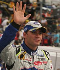 Jimmie Johnson (pictured in 2007) won the race after overtaking Bobby Labonte with fifty-five laps remaining.