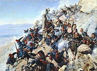 Russian troops fighting against Ottoman troops at the Battle of Shipka Pass (1877)