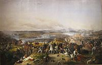 Russian general Pyotr Bagration, giving orders during the Battle of Borodino while being wounded