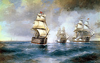 """An Imperial Russian Navy Brig """"Mercury"""" Attacked by Two Turkish Ships in a scene from the Russo-Turkish War (1828–29), by Ivan Aivazovsky"""