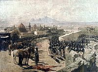 Franz Roubaud's painting of the Erivan Fortress siege in 1827 by the Russian forces under leadership of Ivan Paskevich during the Russo-Persian War (1826–28) (indicating how dangerously close the Russians had come near Iran)
