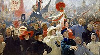 A scene from the First Russian Revolution, by Ilya Repin