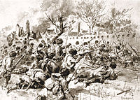 Russian soldiers in combat against Japanese at Mukden (inside China), during the Russo-Japanese War (1904–1905)