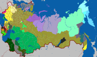 Subdivisions of the Russian Empire by largest ethnolinguistic group (1897)