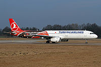 A Turkish Airlines Airbus A321-200 in Turkish Airlines Euroleague livery. The airline has been the primary sponsor of the top European basketball league since 2010.