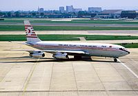 A Boeing 707 operated by Turkish Airlines at Heathrow Airport in 1984.