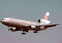 THY Douglas DC-10 in 1974 wearing the airline's initial colour scheme.