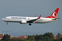 A Boeing 737 MAX 8 of Turkish Airlines on final approach for Istanbul Atatürk Airport.