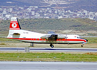 THY Fokker F27 Friendship landing at Athens Hellenikon Airport in 1973.
