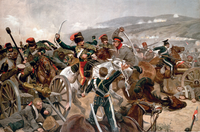 British cavalry charging against Russian forces at Balaclava in 1854