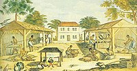 African slaves working in 17th-century Virginia, by an unknown artist, 1670