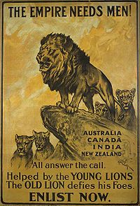 A poster urging men from countries of the British Empire to enlist
