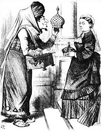 """An 1876 political cartoon of Benjamin Disraeli (1804–1881) making Queen Victoria Empress of India. The caption reads """"New crowns for old ones!"""""""