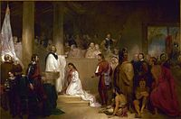 Baptism of Pocahontas was painted in 1840 by John Gadsby Chapman, who depicts Pocahontas, wearing white, being baptized Rebecca by Anglican minister Alexander Whiteaker (left) in Jamestown, Virginia. This event is believed to have taken place either in 1613 or 1614.