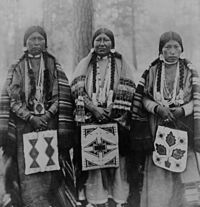 Three Native American women in Warm Springs Indian Reservation, Wasco County, Oregon (1902).
