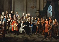 Yamacraw Creek Native Americans meet with the Trustee of the colony of Georgia in England, July 1734. The painting shows a Native American boy (in a blue coat) and woman (in a red dress) in European clothing.