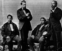 Members of the Creek (Muscogee) Nation in Oklahoma around 1877; they include men with some European and African ancestry.