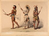 Ball players from the Choctaw and Lakota tribe in a 19th-century lithograph by George Catlin