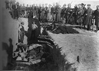 Mass grave for the dead Lakota following the 1890 Wounded Knee Massacre, which took place during the Indian Wars in the 19th century