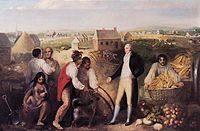 Benjamin Hawkins, seen here on his plantation, teaches Creek Native Americans how to use European technology, painted in 1805