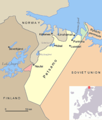 Map of Petsamo area in northern Finland/Soviet Union/Russia. The green area is the Finnish part of the Rybachi peninsula (Kalastajasaarento) which was ceded to the Soviet Union after the Winter War. The Red area is the Jäniskoski-Niskakoski area ceded to the USSR in 1947.