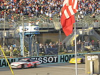 No. 6-David Ragan leads No. 10-Dave Blaney to the first restart of the Ford 300.