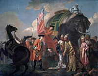 Robert Clive at the Battle of Plassey in 1757, which marked the defeat of the last independent Nawab of Bengal Siraj-ud-Daulah