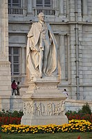 A statue in Calcutta Victoria Memorial of Lord Curzon, who announced the creation of Eastern Bengal and Assam on 16 October 1905
