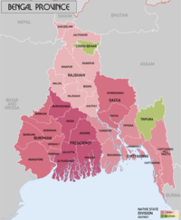 Bengal Province in 1931 and adjoining princely states of Hill Tippera and Cooch Behar State