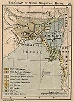 Map showing growth of British rule in Bengal and Burma
