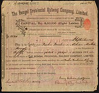 The certificate of a shareholder in the Bengal Provincial Railway Company Limited