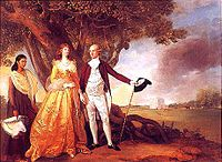 Painting by Johann Zoffany of Governor-General Warren Hastings and his wife Marian at their garden in Alipore